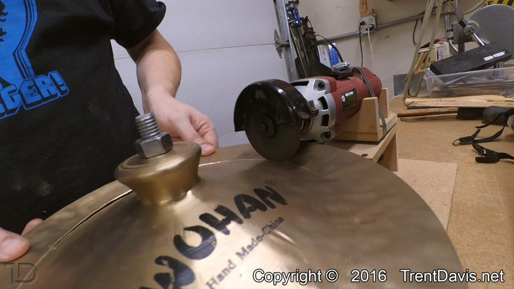 Fig. 2 - The first cymbal on the cutting jig.