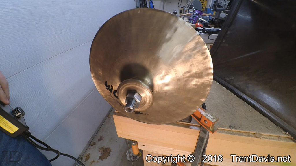 Fig. 7 - The top of the first cymbal ready to be polished.