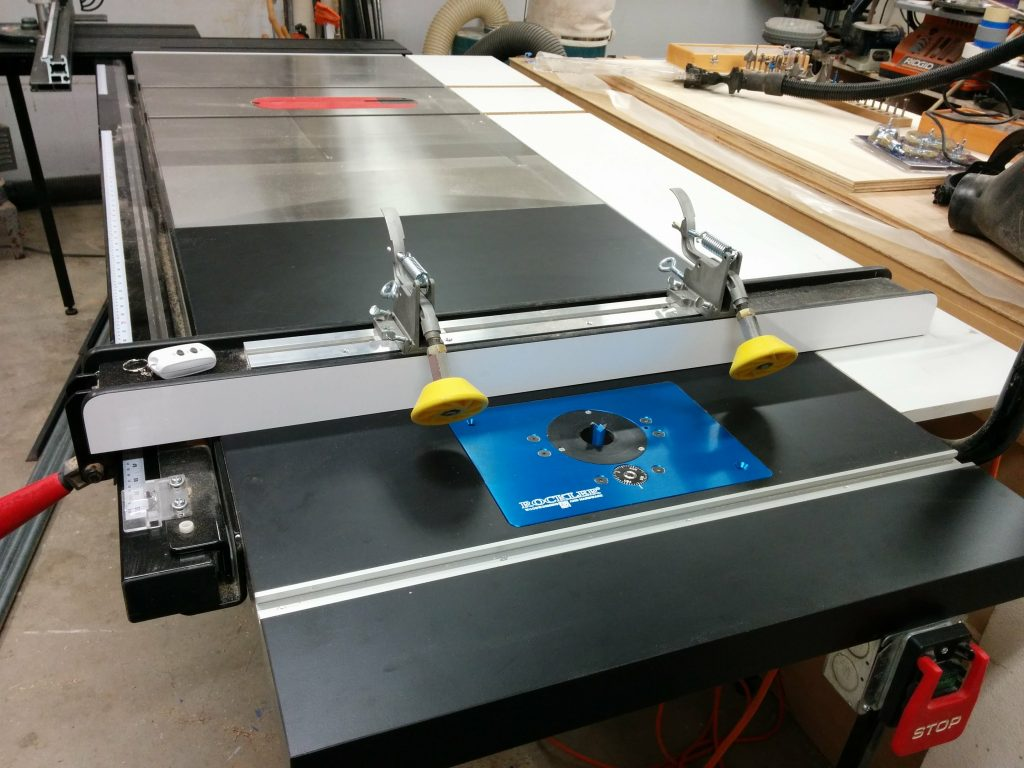 Table saw enhancement converting extension table into router table sawstop industrial cabinet saw with sliding crosscut table extra wing and router table greentooth Choice Image