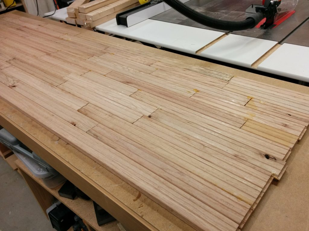 Looking at the underside of the glued up benchtop.