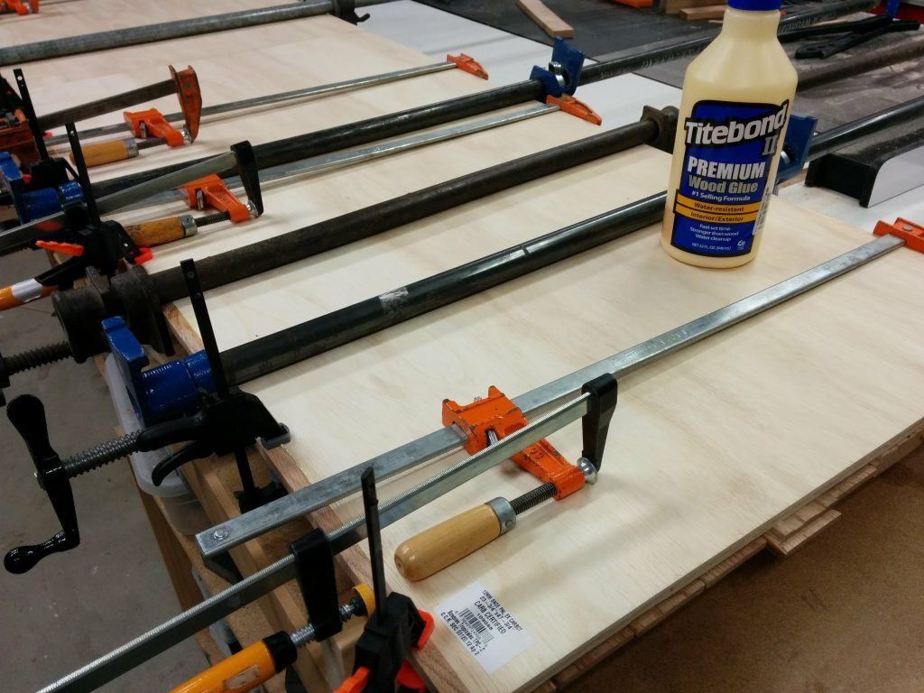 Getting creative with some clamps that are just a bit too short.