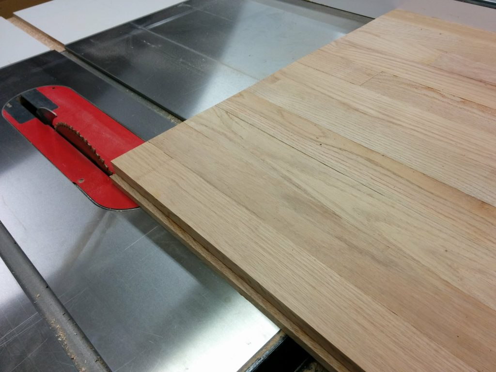 Trimming the front edge at the table saw.