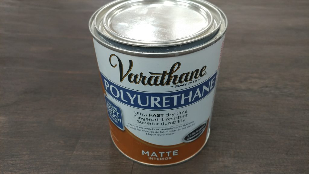 For this project I am using Varathane brand matte finish interior polyurethane.