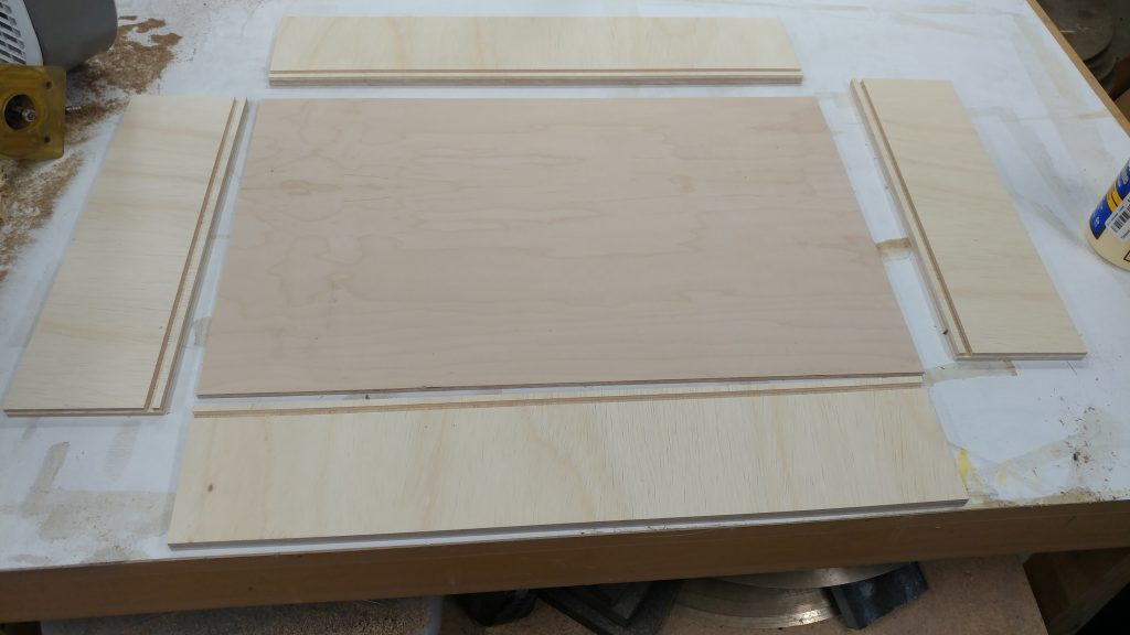 All the parts for the main drawer all laid out.