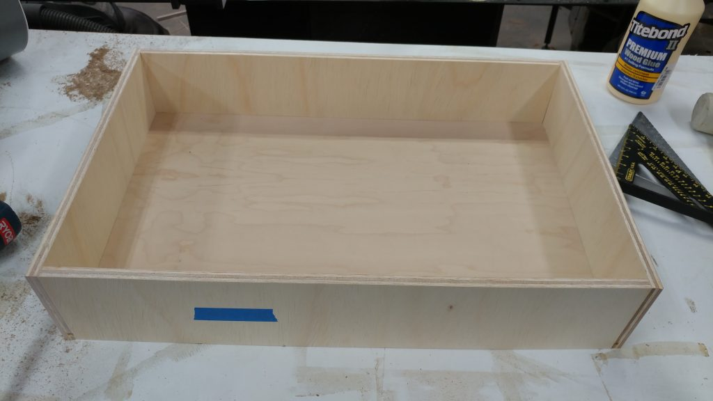 The main drawer glued and nailed together.