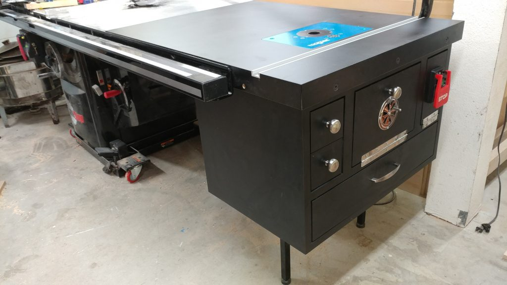 A sneak peek of the finished router table enclosure.
