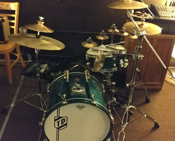 The drum setup for one of our gigs.