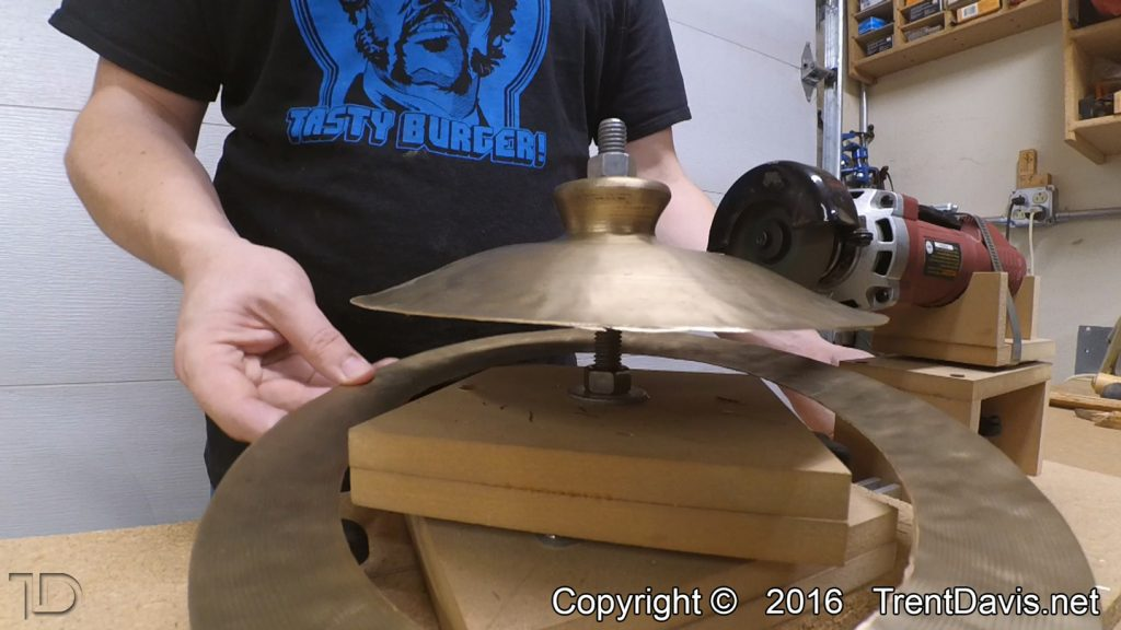 Fig. 4 - Just finished cutting down the second cymbal.
