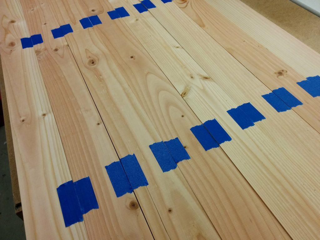 Tape applied to the boards.