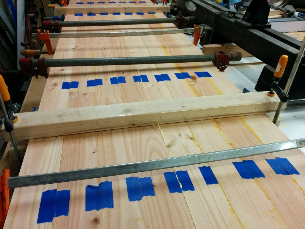 Both halves clamped and cauled.