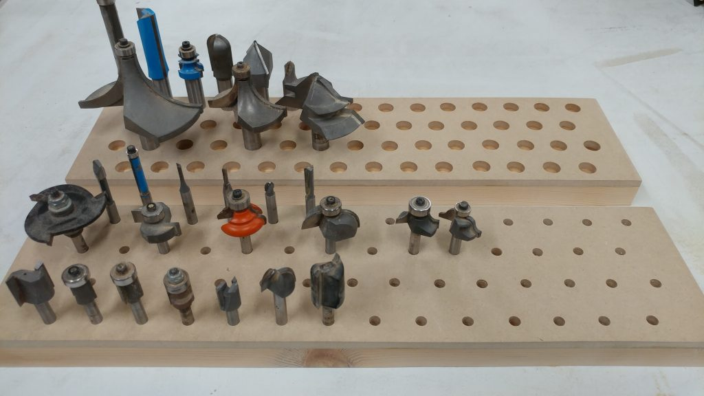 I sanded them smooth and test fit some of my router bits.
