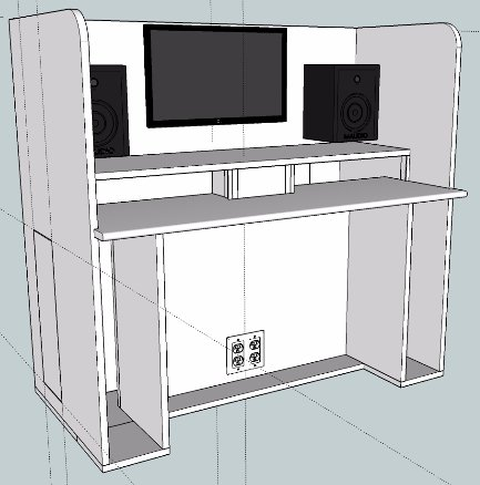 One of the many iterations of the studio desk I've been planning.